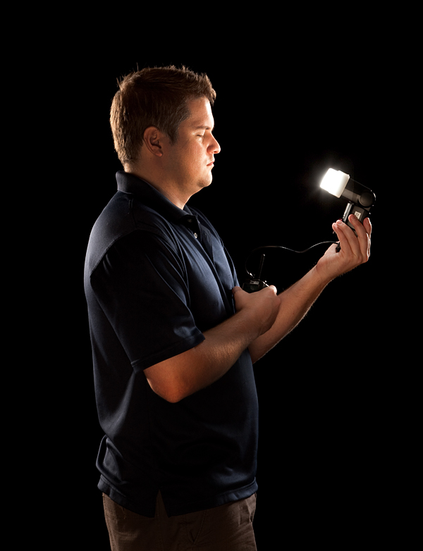 Assistant Will Rutledge testing the glove strobe.