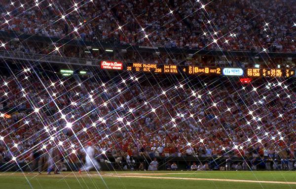 A 1-second exposure of home run No. 62, September 8, 1998.
