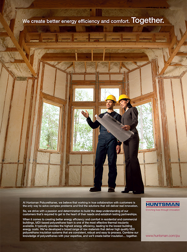 Advertisement by Houston Texas advertising photographer Robert Seale for Huntsman insulation products.