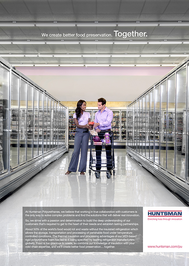 Advertisement by Houston Texas advertising photographer Robert Seale for Grocery store shoot for Huntsman freezer insulation products.
