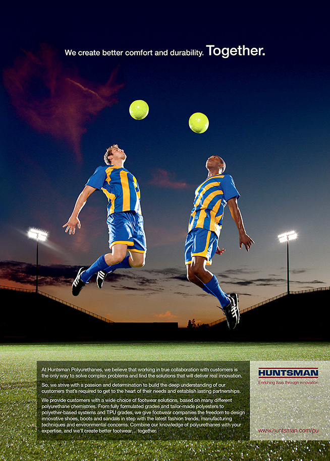 Advertisement by Houston Texas advertising photographer Robert Seale for Stadium shoot with two soccer players for Huntsman products in athletic shoes.