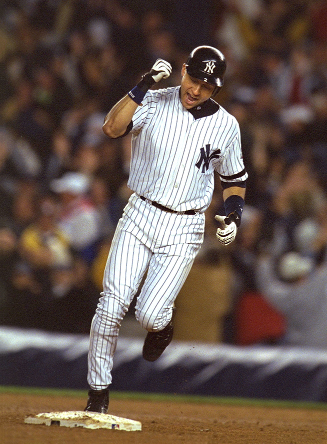 Derek Jeter rounds second after his 10th inning walk-off home in Game 4 of the 2001 World Series.
