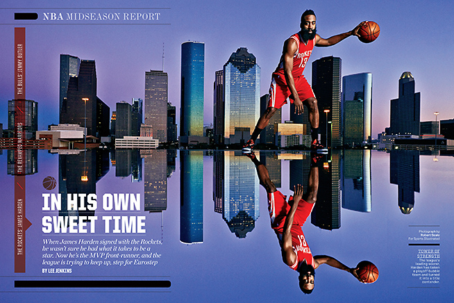 The James Harden spread as it appeared in SI.