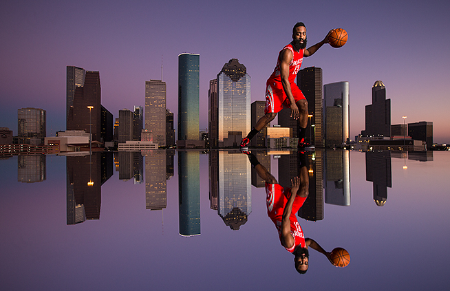 Portrait of James Harden in front of the Houston skyline on Saturday, Feb. 7, 2015.  ©2015 Robert Seale