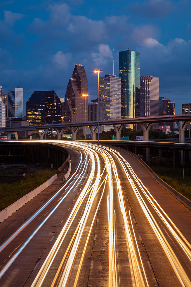 Loose full-frame composition of the Houston skyline with the new 50MP Canon 5DS.