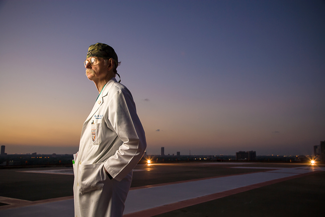 Dr. Red Duke, on the Life Flight Helipad at Memorial Hermann - Texas Medical Center on June 2, 2008.  © 2008 Robert Seale. Robert Seale Photography www.robertseale.com 832-654-9572