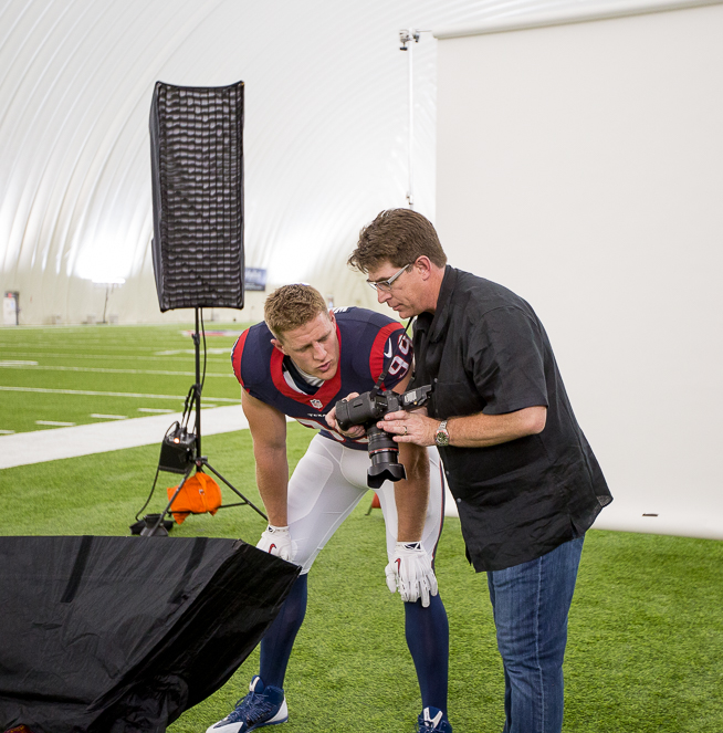 Houston Texans defensive end J.J. Watt posing for portraits in the practice bubble across from NRG Stadium in Houston, Texas on Wednesday, July 22, 2015.  © 2015 Robert Seale/All Rights Reserved.